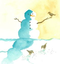 watercolor- snowman with birds  Could go on my Winter Wonderland Board and/or my Bird Binge Board.  Love this!