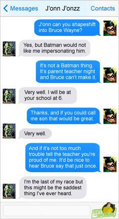 Saddest batman stuff Robin Superhero, Superhero Texts, Martian Manhunter, Funny Comics, Sad Comics, Marvel Comics, Marvel Dc, Young Justice Funny, Justice League Funny