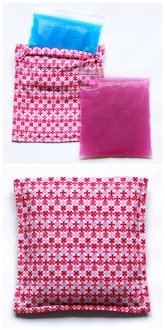 Learn how to make this reusable DIY ice pack and cozy cover with this easy tutorial. A quick and inexpensive project. Sewing Hacks, Sewing Tutorials, Sewing Patterns, Diy Projects To Try, Craft Projects, Sewing Projects, Fabric Crafts, Sewing Crafts, Sewing Diy