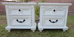 SHABBY CHIC/FRENCH PROVINCIAL,2 NIGHT STANDS/SIDE TABLES COTTAGE WHITE -
