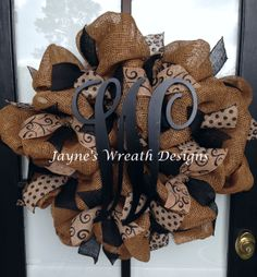 Burlap Wreath with burlap ribbon and monogram letter