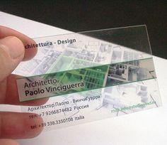 architect clear plastic business cards - biglietti da visita architetto PVC trasparente