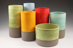 Tall Cylinder Vase in Sky Blue and Matte Warm Grey from Kim Westad