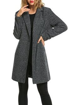 SALE PRICE - $62.99 - Zeagoo Women Lapel Long Trench Coat Wool Blended Jacket Cardigan