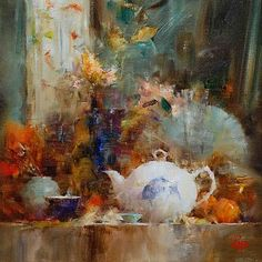 """""""Shelf with Fish Teapot"""" by Laura Robb: http://laurarobb.com"""
