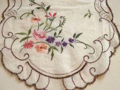 Charming Vintage Hand Embroidered Silk Linen by TinksVintageUK