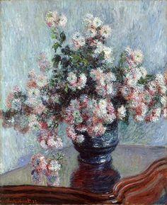 Quadro Crisântemos de Claude Monet - A marca d'água acima (quadrosetelas.com)…