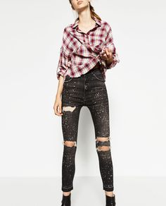 Image 2 of HIGH-WAISTED RIPPED TROUSERS from Zara