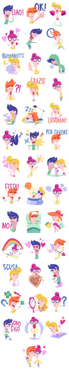 Gli amiconi - Line stickers by Claudia Bettinardi, via Behance
