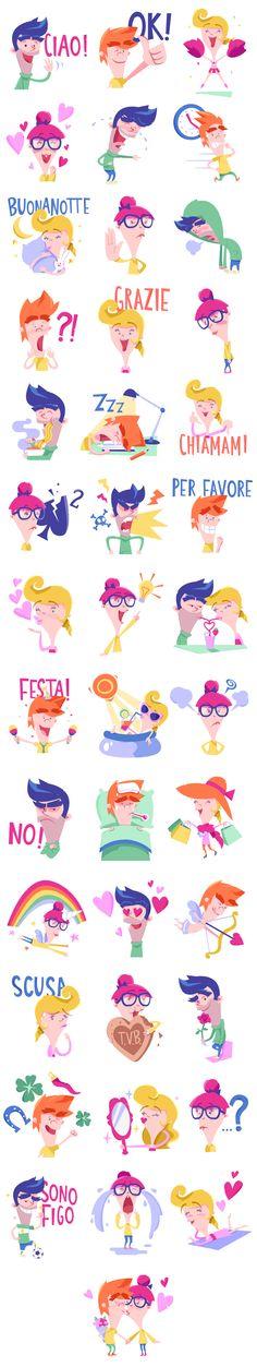 Gli amiconi - Line stickers by Claudia Bettinardi, via Behance