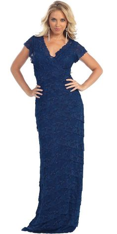 Midi Short Sleeve Lace Mother of the Bride Plus Size Formal Evening Long Gown