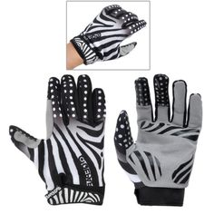 [$6.62] Qepae Outdoor Sports Bicycle Zebra Lines Pattern Anti-Slip Breathable Half-Finger Gloves, Size: L(8-9cm)