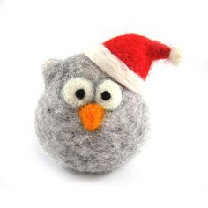 Santa Owl Ornamant Needle Felted Owl Soft by RolyzTreasures
