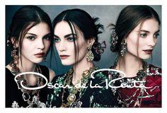 Oscar de la Renta. Photographer Norman Jean Roy. Fall 2013 campaign. Up and coming models Iris van Berne, Kate Bogucharskaia and Patrycja Gardygajlo