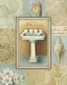 Laminas decoupage: LAMINAS PARA BAÑO , ETIQUETAS..ETC. - antique sink.