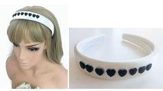 Gorgeous Ivory Satin Headband Hair band with Black Heart Jewels Padded Style