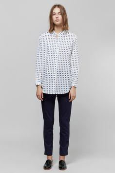 Apiece Apart Classic Augustina Button-Up Shirt & Camilla High-Waisted Trouser | Dieppa Restrepo Serge Loafers | MYCHAMELEON.COM.AU