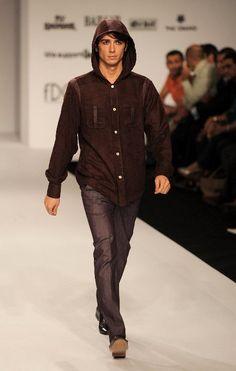 A model presents a creation by Indian designer Ravi Bajaj