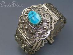 Vintage Egyptian Revival Scarab Filigree Bangle by PritiStar, $75.00