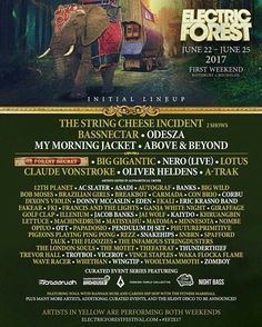 Phase 1 line up for Electric Forest Forest 2017 in Michigan