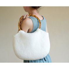 White Shoulder Bag With Bamboo Grips, White Bag, Hand Felted Bag, Wool... ($70) ❤ liked on Polyvore featuring bags, handbags, shoulder bags, shoulder bag handbag, white shoulder bag, shoulder bag purse, bamboo purse and white purse