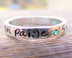Mothers Ring, Personalized Birthstone Stacking Ring, Hand Stamped Ring, Engraved Ring, Childrens Name Ring- ONE on Etsy, $112.00
