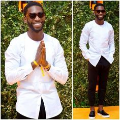 Tinie Tempah in white collarless bib front Dolce Gabbana shirt at Veuve Clicquot Gold Cup Final at Cowdray Park Polo Club on 20th July 2014 http://www.whats-he-wearing.com/2014/07/tinie-tempah-dolce-gabbana-collarless-white-shirt-veuve-clicquot-gold-cup-final.html