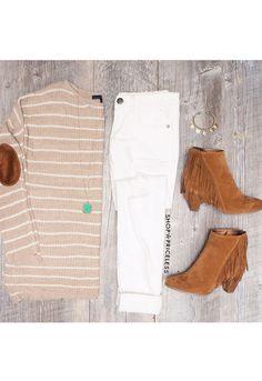 Hannaly Stripe Sweater - Taupe