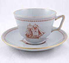 Spode Trade Winds Red London Shaped Footed Cup Saucer Red Scalloped Gold Trim #8…