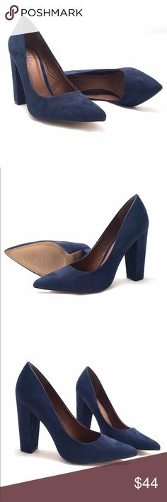 ShuShop Navy Blue Block Heel Pumps Gorgeous doesnt begin to describe these stunning pumps. Faux suede, block heel, and very sexy. Heel measures 4inches. Medium width and true to size. ShuShop Shoes Heels