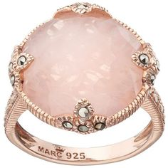 Lavish by TJM 18k Rose Gold Over Silver Rose Quartz & Marcasite Circle... (55.650 HUF) ❤ liked on Polyvore featuring jewelry, rings, bezel ring, 18k ring, rose quartz ring, enhancer ring and silver rings