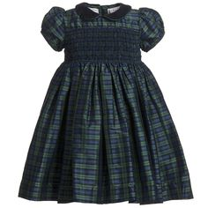 Annafie Hand-Smocked Blue Tartan Silk Dress at Childrensalon.com
