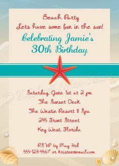 Beach Party Theme Invitation DIY Printing by SweetMelissaCreations
