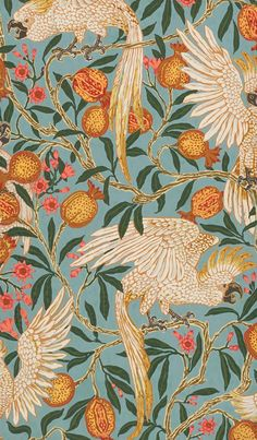 Image of cockatoo and pomegranate wallpaper, by walter crane. england, 1899 by V&A Images Tumblr Wallpaper, Wallpaper Backgrounds, Iphone Wallpaper, Wallpaper Space, Colorful Wallpaper, Screen Wallpaper, Wallpaper Quotes, Walter Crane, Victoria And Albert Museum