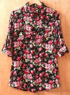 Black Lapel Long Sleeve Rose Print Pockets Shirt
