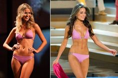 Miss USA & Miss Universe Australia both wore the same swimsuit for their national comps! love it :)
