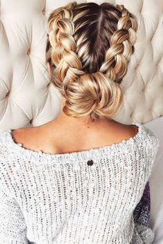 Pulled back braid.