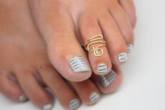 Double Spiral Toe Ring Silver Gold and Copper by wirewrap on Etsy