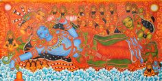 Shri Padmanabha - The Lotus Navel - Kerala Mural (via Exotic India) Kerala Mural Painting, India Painting, Indian Art Paintings, Online Painting, Kalamkari Painting, Krishna Painting, Madhubani Painting, Mural Art, Murals