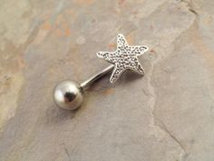 Tiny Silver Starfish Belly Button Ring