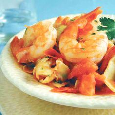 Scrumptious Shrimp with Artichokes -- serves 3 in 6 minutes.
