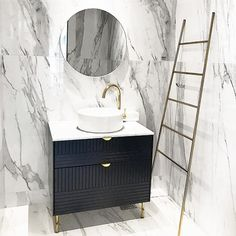 Marble dream with an Infinity Blue Superfront vanity! This vanity has the Parallels pattern, Slender legs and the Holy Wafer handles in chrome. Our vanities are built on the wall-hung Ikea Metod cabinets and come in four different widths: 40, 60, 80 and 120 cm. The depth is 40 cm and the height is 79 cm up to the top on which the sink stands. The top is Carrara marble and it comes predrilled for sink and tap. Easy peasy! Picture by: @heestagram320