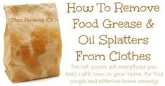 How to remove grease from clothes, like when you accidentally drip some oily food on yourself. This home remedy is so easy! {on Stain Removal All You Need Is, Need To Know, Deep Cleaning Tips, Cleaning Hacks, Cleaning Solutions, Remove Grease From Clothes, How To Remove Kitchen Cabinets, Salted Or Unsalted Butter, Tablet Recipe