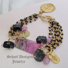 Schaef Designs Sugilite, black tourmaline, pink Sapphire briolettes 22kt gold vermeil bracelet with fleur de lis charms | New Mexico