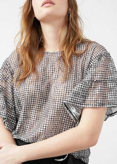 Ruffle vichy t-shirt | VIOLETA BY MANGO