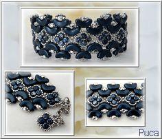 Bracelet Jilo Arcos® Metallic Mat  Dark Blue et Minos® Tweedy Blue
