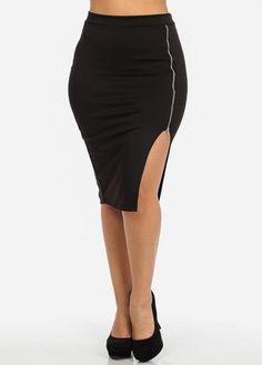 Black Pencil Skirt with Zipper