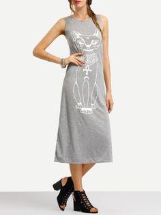 Vestido sin manga gato -gris