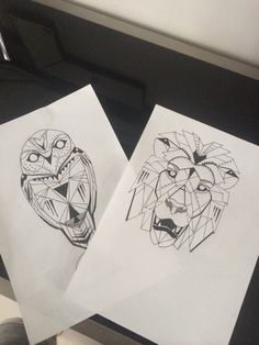 Geometric lion and owl tattoo drawings