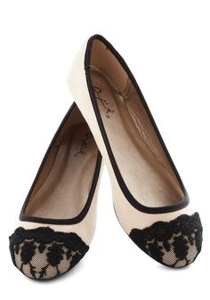 Jeté Through Your Day Flat - Tan, Black, Lace, Trim, Work, Daytime Party, French / Victorian, Flat